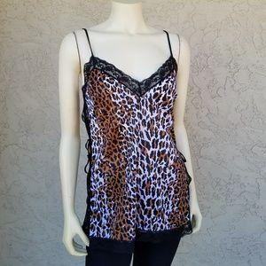 Vintage Spatz Leopard Split Sides Lace Camisole